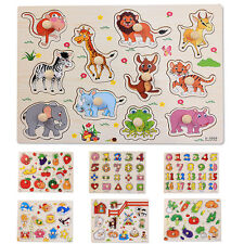 Wooden Shape/Animal/Letters Shaped Peg Puzzle Baby Toddlers Preschool Kids Toy