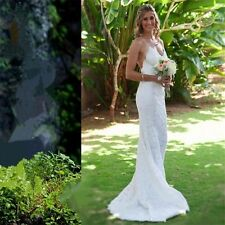 Sexy Garden Beach White Mermaid Wedding Dress Stunning Backless Lace Bridal Gown