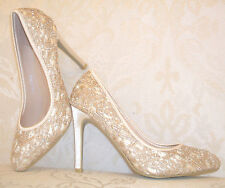BNWB SIZE 2 2.5 3 BEIGE CHAMPAGNE NUDE LACE SATIN DIAMANTE BRIDAL OCCASION SHOES