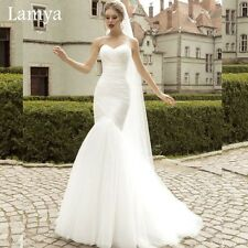 Strapless Sweetheart Ruched lace Mermaid Wedding Dress Bridal Gown Ivory / White