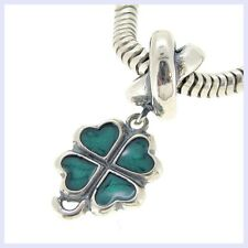Sterling Silver Green Four Leaf Clover Enamel Bead for European Charm Bracelet