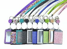 3 IN 1 Lanyard and Retractable Reel with Full Bling Vertical ID Badge Holder