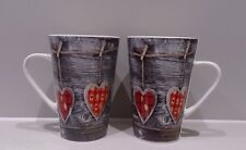Set of 2 – Shabby Chic Grey & Red Heart Love Coffee/Tea Mugs