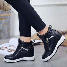 Womens High Top Fashion Wedge Sneakers Mid Wedge Sport Ankle Boots Casual Shoes