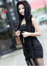 New Genuine Mink Fur Scarf Cape Stole Shawl Wraps Hat Knitted Women Coat H8866