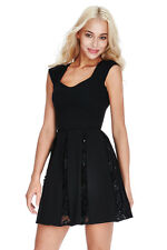Ladies Black Lace & Sequin Inset Party Skater Dress Size 8 10 12 14 16 RRP £65