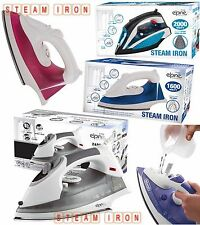 ELECTRIC COMPACT STEAM SPRAY IRON STAINLESS STEEL NON-STICK SOLEPLATE NEW COLOUR