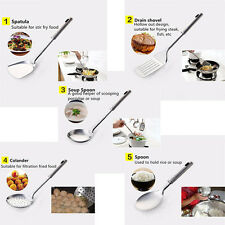 New 5PCS Stainless Steel Utensil Set Kitchen Cooking Tools Spoon Spatula Ladle
