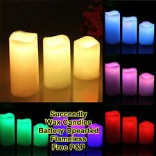 3 LED Flame less Wax Candle LED Candle Set Lights Wax Flameless Battery Operated