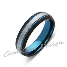 Blue Tungsten Wedding Band - Gray Brushed Tungsten Ring - 6mm - Mens Ring - Tung