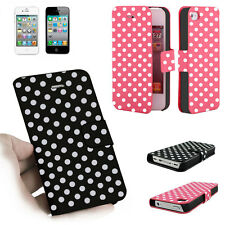 Teal Polka Dot Cute Hard Case Leather Cover For iPhone 4 4S 4GS Color Black Red