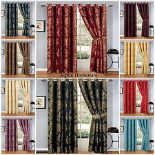 NEW JACQUARD RINGTOP  EYELET CURTAINS PAIR READY MADE FULLY LINED INC 2TIE BACKS