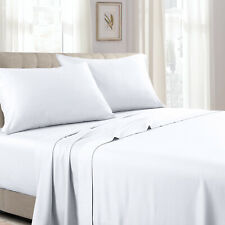 Cal King 4PC Wrinkle-Resistant Woven Solid100% Cotton Sheets 300TC Deep Pockets