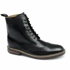 Lucini Mens Leather Wide Fit Lace-Up Brogue Comfy Formal Ankle Derby Boots Black
