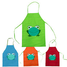 Cute Child's Children Waterproof Apron Cartoon Frog Printed Painting Cooking FK
