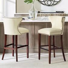 """30"""" or 24"""" High Back Leather Nailhead Counter or Bar Saddle Seat Stool 9 Colors"""