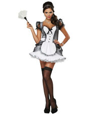 Ladies Sexy Luxe White French Maid France Waitress Fancy Dress Costume