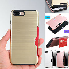 For iPhone 6S 8 7 Plus Case Ultra Hybrid Shockproof Tough Armor Card Slot Cover