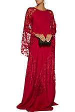 $4490 New Oscar de la Renta Red SILK CREPE CAFTAN WITH DOTTED FILIGREE LACE S