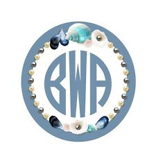 Personalized Seashell and Pearls Wreath Monogram Initials Decal [001]