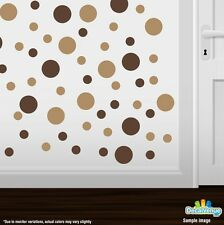 Chocolate Brown / Light Brown Polka Dot Circles Wall Decals