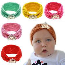 Toddle Kids Children Baby Crochet Knitted Headband Hairband Crystal Crown Turban