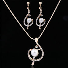 Prom Wedding Bridal Jewelry Women Pearl Crystal Pendant Necklace Earrings Set