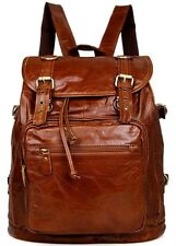 Men Women Genuine Leather Vintage Backpack Schoolbag Laptop Travel bag