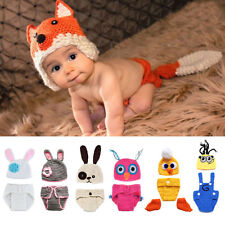 Newborn Infant Baby Girl Boy Animal Crochet Knit Hat Outfits Photo Prop Costume