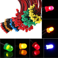 50Pc 12V 20cm Pre Wired 3 5 10mm Diffused LED Lamp Emitting Diode Home Car Decor