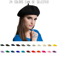 Women Sweet Solid Wool Beret French Artist Warm Beanie Hat Ladies Winter Ski Cap