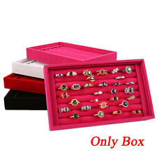 Jewelry Display Velvet Slots Earring Ring Tray Organizer Holder Case Box Fashion