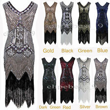 1920s Flapper Party Dress Gatsby Vintage Fringe Sequin Beads 20s Roaring Dresses