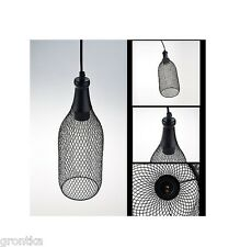 Wire Metal Mesh Bottle Shape Industrial Black Pendant Fitting Ceiling Lighting