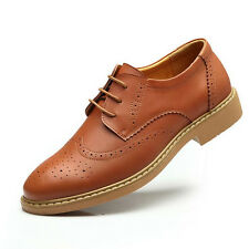 Men's British Brogue Leather Shoes Lace Up Casual Business Formal Dress Shoes