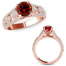 1 Carat Red Diamond Lovely Solitaire Halo Wedding Fancy Ring Band 14K Rose Gold