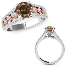 0.75 Ct Champagne Color Diamond Beautiful Solitaire Ring Band 14K Two Tone Gold