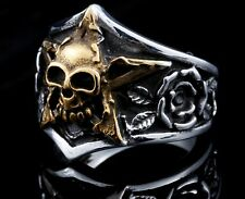 Ring Mens Biker Skull Silver Rock Jewelry Skull Stainless Steel Gothic Star Size
