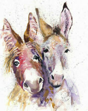 HELEN APRIL ROSE Limited Print DONKEY DOUBLE wildlife watercolour painting   341