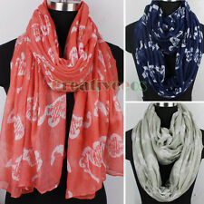 Women Fashion Animal Scarves Hippocampal Print Viscose Long/Infinity Scarf Snood
