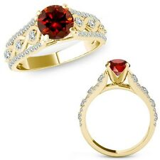 1.15 Ct Red Color Diamond Halo Wedding Infinity Bridal Ring Band 14K Yellow Gold