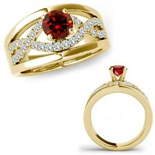 1 Ct Red Color Diamond Halo Engagement Infinity Bridal Ring Band 14K Yellow Gold