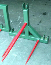 3x Tines Bale spike/Carrier 3 point linkage attachment compact tractor CAT 1/ 2
