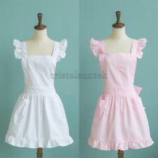 Girls Victorian Maid Apron Fancy Dress Pinafore Pinny Smock Costume Pink White