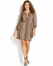 NWT-$130 MICHAEL KORS ~Size 1X~ Belted Signature Chain Lace-Up Leopard Dress