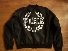 "VICTORIAS SECRET PINK ""PINK"" FULL ZIP LINED BOMBER JACKET NWT"