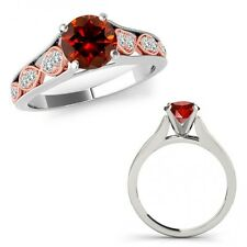 1.15 Ct Red Diamond Filigree Solitaire Halo Bridal Ring Band 14K Two Tone Gold
