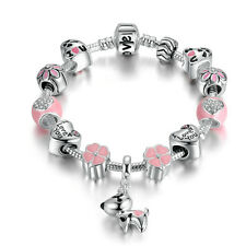 925 Silver Plated European Pink Murano Beads Charms Bracelet w Pink Enemal