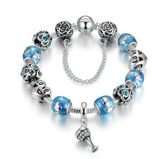 925 Silver Plated Charms Bracelet European Blue Murano Beads w Cocktail Cup