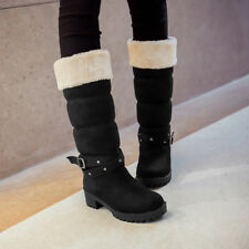 Winter warm womens mid calf cuban heel fur lined cuffed snow boots plus size10.5